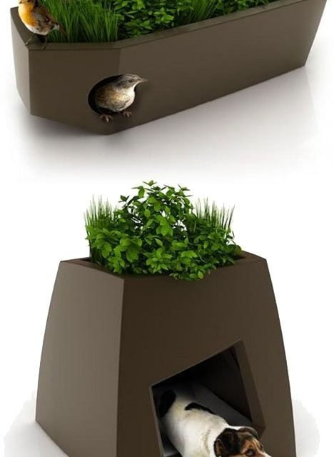 Love this idea!   Bird houses & dog houses in planters.