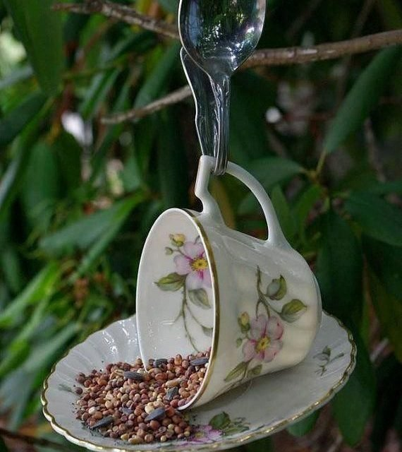 vintage tea cup bird feeder  #gardening art, #gardening for beginners, gardening party, gardening plans  #animals #goat #sheep #dogs #cats