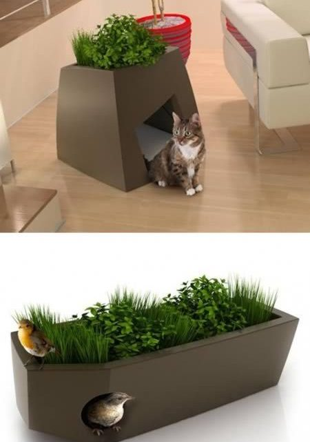 "Jardin Chic is showing that pet friendly furniture can also be ""chic"". Take a look at these planters with dual functions. They serve as"