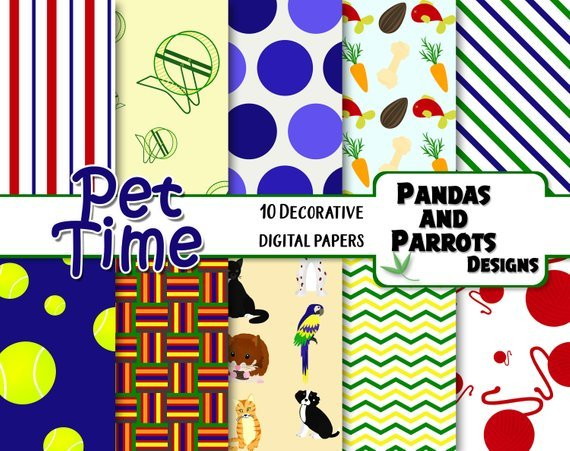 PET TIME Digital Papers, 10 High Quality jpeg papers Instant Download hamster carrots yarn balls wheel dog kitten cat bird parrot lines dots
