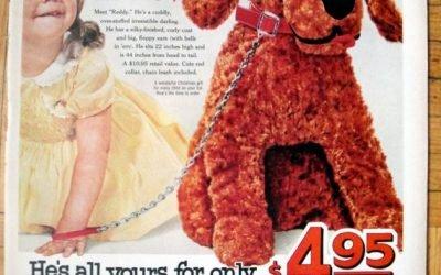 1958 Toy Stuffed Puppy Sale -Red Heart Dog Food-Original 13.5 * 10.5 Magazine Ad