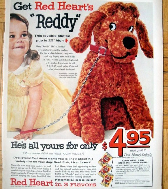 1958 Toy Stuffed Puppy Sale -Red Heart Dog Food-Original 13.5 * 10.5 Magazine Ad
