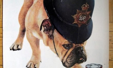 1960 Bulldog With British Police Helmet Friskies-Original 13.5 * 10.5 Magazine Ad- Pet Food