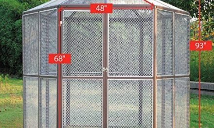 LAZYMOON 93″Large Walk-in Hexagonal Bird Aviary Cage Birds Pets Parrot Canary House. Overall Size: each side 4ft L x 7.7ft H (from Ground