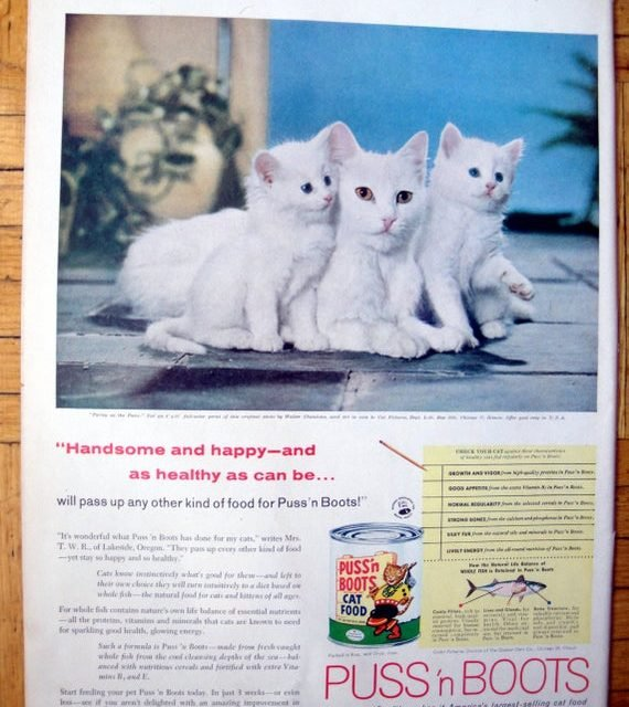 1958 Puss'n Boots Cat Food-Kittens On The Patio-Original 13.5 * 10.5  Magazine Ad