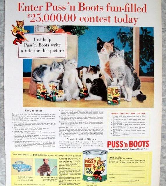 1958 Puss'n Boots Cat Food -25,000 Contest -Original 13.5 * 10.5  Magazine Ad
