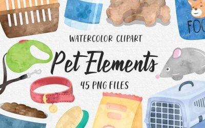Pet Store Shop Elements, Petshop Pets Food Veterinary Pet Care, Dog Cats Fish Bowl Bone Watercolor Cliparts – PNG Clipart Set COMMERCIAL USE